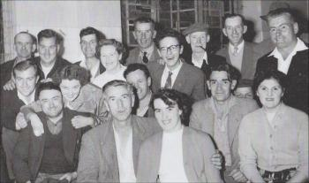 Marion with the powder workers. Her husband is also in the photo, far right, 1950s