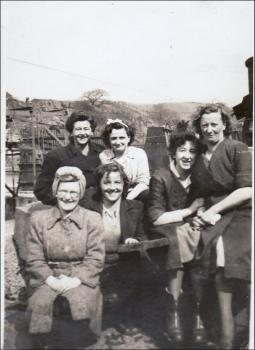 Susie with friends at work, 1940s
