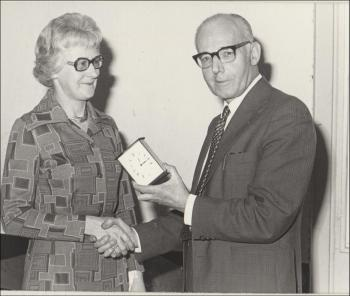 Receiving a clock from Dr Stone  on her retirement, 1970