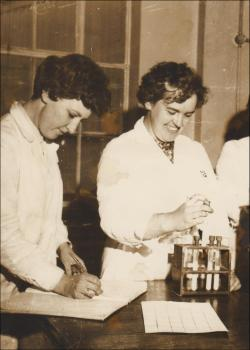 Rosie and Mair Griffiths at work, 1950s