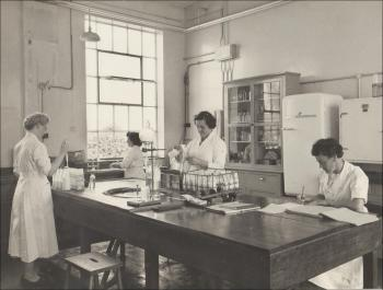 In the lab, Mair, centre, with supervisor Mrs Thomas sitting