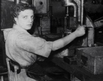 Colleage of Marjorie Collins  at work in Triang toy factory, Merthyr Tydfil