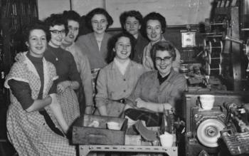 Marge Evans with co-workers at Sobells Factory