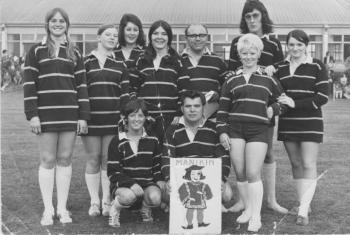J.R. Freeman Cigar factory 'It's a Knockout' team, Tryphena Jones front row on the left