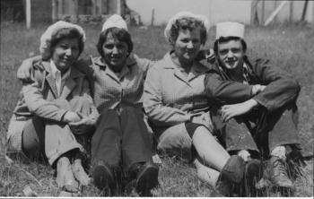 Margaret Gerrish, far left, and colleagues from the Cora garment factory