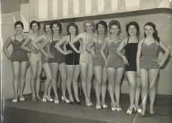 Miss Dunlop 1957 Contest in Dunlop Canteen. Pat Howells 4 th from right