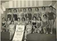 Miss Dunlop 1957 line-up in Dunlop Canteen. Pat Howells 4 th from left.