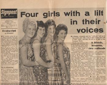 Article 1 from Signpost, the British Nylon Spinners weekly newspaper,  Thursday 8 June 1961, �Four Girls with a lilt in their Voices� about the singing group the Librettis.