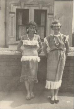Nanette Lloyd and friend dressed as Red Indians in Ponthenri Carnival