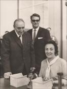 The INA Bearings factory opening in 1966, Beryl with Jim Griffiths MP and the Manager