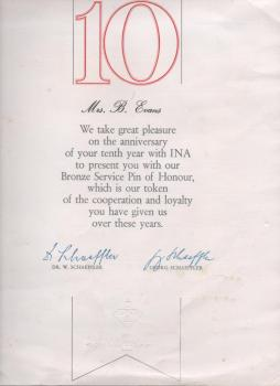 Beryl Evan's certificate for 10 years service at INA Bearings