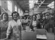 Eira and warehouse workers at Mettoys Factory, Swansea, 1960s