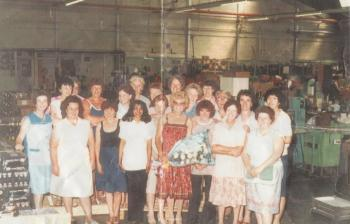 Mrs Gibbon in the Mettoys Factory, 1970s