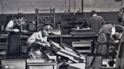 Workers on the factory floor at Morris Motors, assembling radiators.